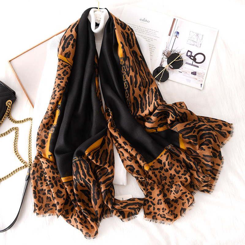 2019 Winter Women Cotton Linen Leopard Scarf Pashmina Shawls And Wraps Female Foulard Hijab Wool Stoles Scarves Bandana Cachecol