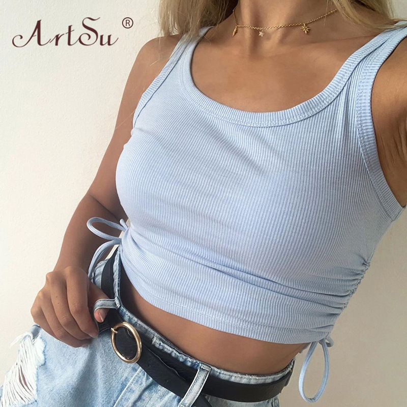 ArtSu Rib Knit Solid Blue Casual Women Tank Tops Sleeveless Skinny Adjustable Lace Up Sexy Crop Top Summer Camisole Streetwear 2