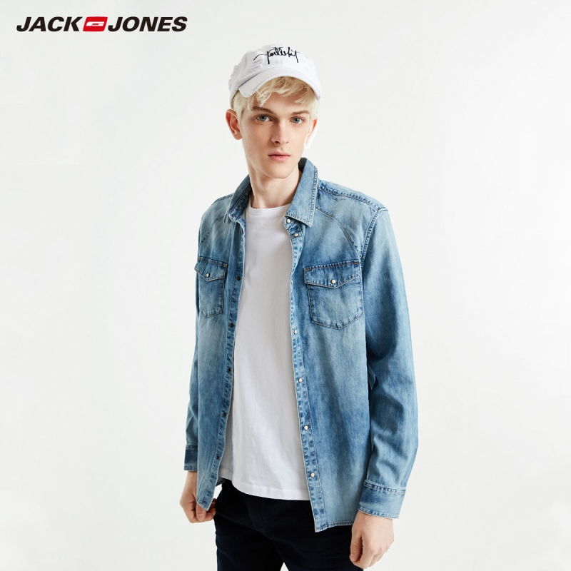 JackJones Men's Slim Fit Long-sleeved Denim Shirt Basic| 219105523