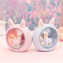 Ins Baby Cute Alpaca Night Light Bedroom Bedside Resin Cartoon Sheep Lamps Home Decoration Lights Chrismas Gift Toy for Kids