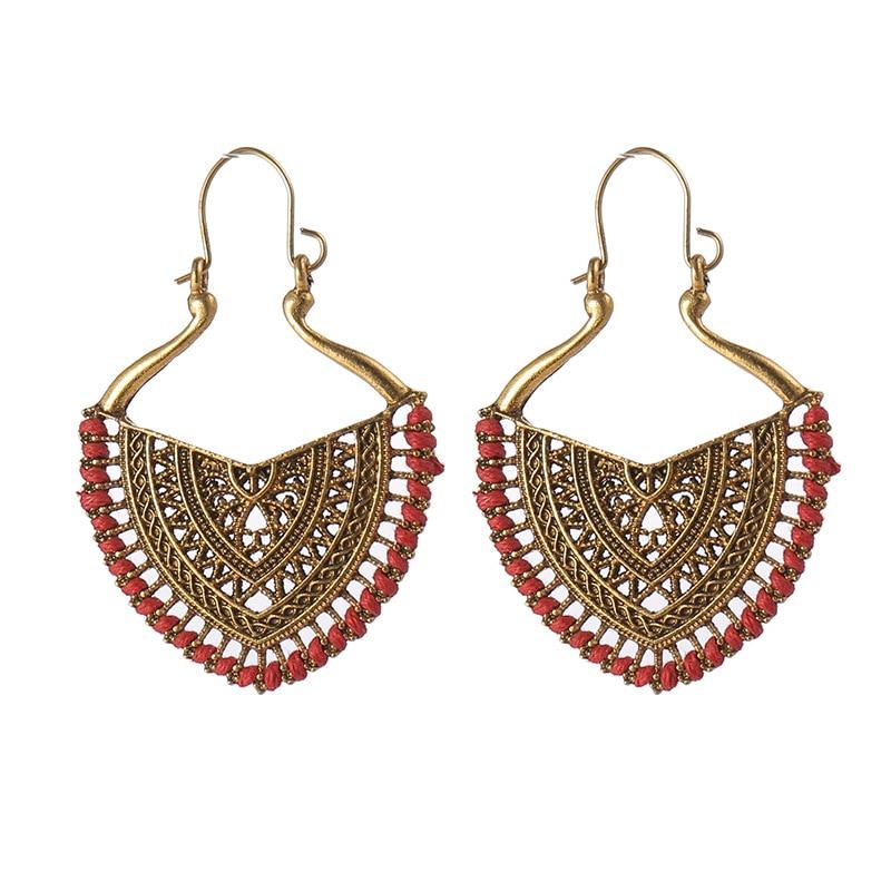 Ethnic Vintage Gold Heart India Earrings Women Boho Gypsy Corful Line Carved Earrings Statement Earrings