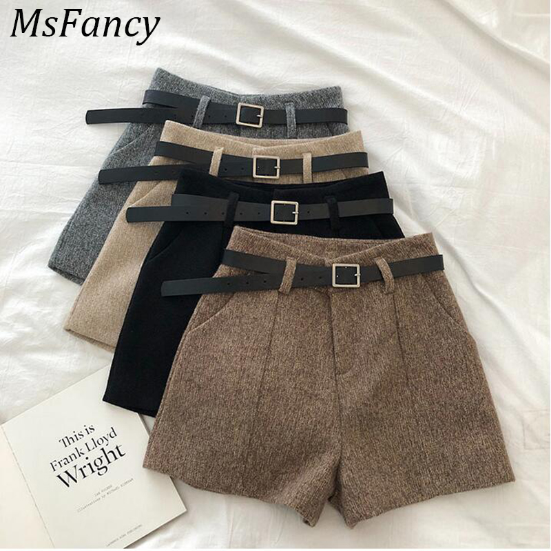 Woman Shorts Spring  Black High Waist Shorts Wide Leg Short Trouser Match Belt Ladies Booty Shorts Streetwear