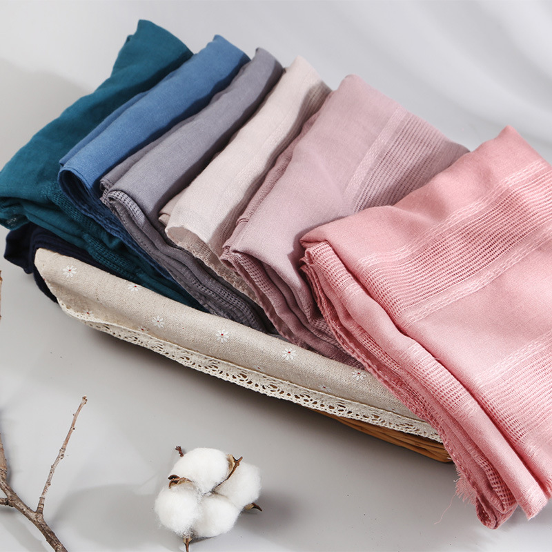 Mclubgirl 90*190CM Spring New Cotton And Linen National Wind Solid Color Hollow Scarf Sen Literary Wind Ladies Shawl