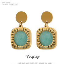 Yhpup Trendy Stainless Steel Green Natural Stone Dangle Earrings Chic 18 K Metal Square Earrings for Women Party Office Gift