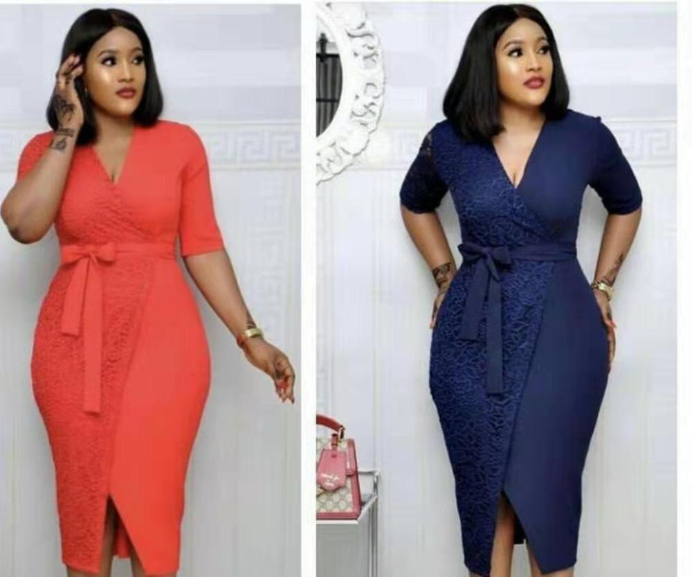 HGTE 2019 new arrival elegent moda estilo africano mulheres plus size vestido Frete grátis