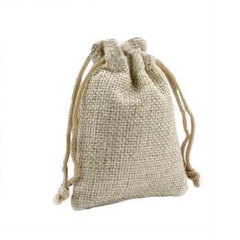 50 bolsas pequeñas de yute de lino de arpillera bolsas con cordón joyería regalo de boda Favor