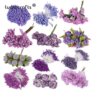 6/8/10/12/50/70/90pcs Mix Purple Flower Cherry Stamen Berries Bundle DIY Christmas Wedding Cake Gift Box Wreaths Decor C0301(China)