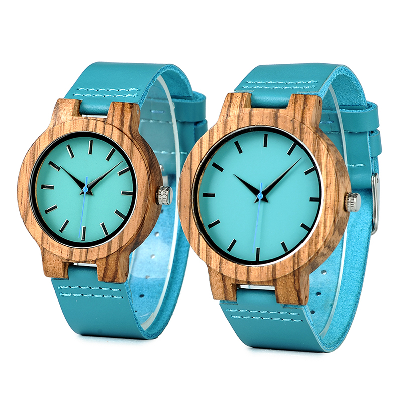 Women Wood Watch Zebra Wooden Timepieces Turquoise Men Couple Watches Lovers Gifts Relogio Masculino With Simple Blue Dial