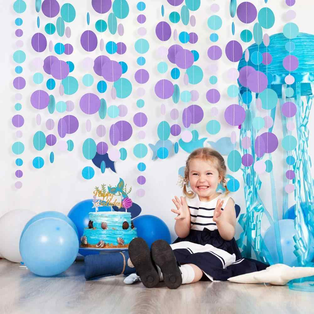 1PC 3m/9.8ft syrenka Party koło Dot Garland Banner z okazji urodzin miot syrenka pod morzem dekoracje do domu na imprezę