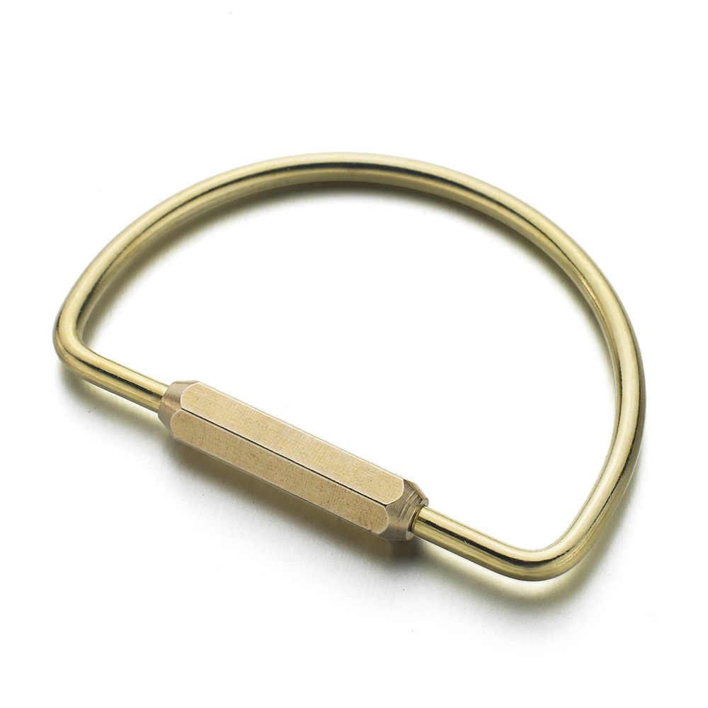 Dalaful Tùy Chỉnh Chữ Móc Khóa Unisex Nguyên Chất Handmade Đồng Keyrings Đơn Giản Bằng Đồng Móc Chìa Khóa Ô Tô Giá Đỡ Chiếc Nhẫn Nam Nữ K353