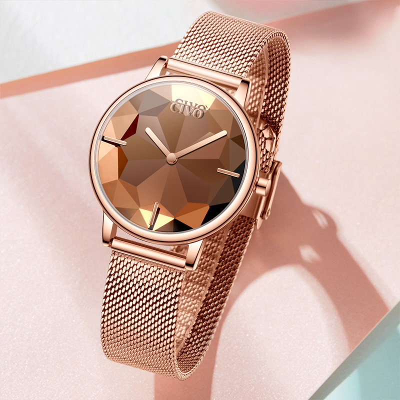 Image 3 - CIVO New Creative Watches Women Luxury Waterproof Rosegold Quartz Ladies Watches Mesh Band Wristwatches Girl Reloj Mujer 8109CWomens Watches   -