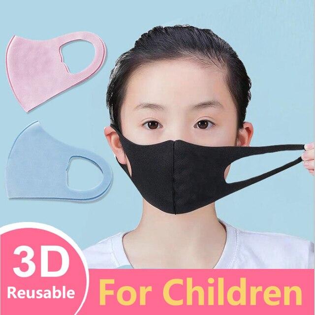 3Pcs Summer Cool Silk Mouth Mask Washable Dustproof Reusable anti-pollen Face Mask Children Kid for Child Kids Health 1