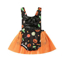 Infant Newborn Baby Girl Halloween Sequined Costume Candy Pumpkin Bodysuit Headband Mini Skirt Tops Sleeveless Clothes 0-24M(China)