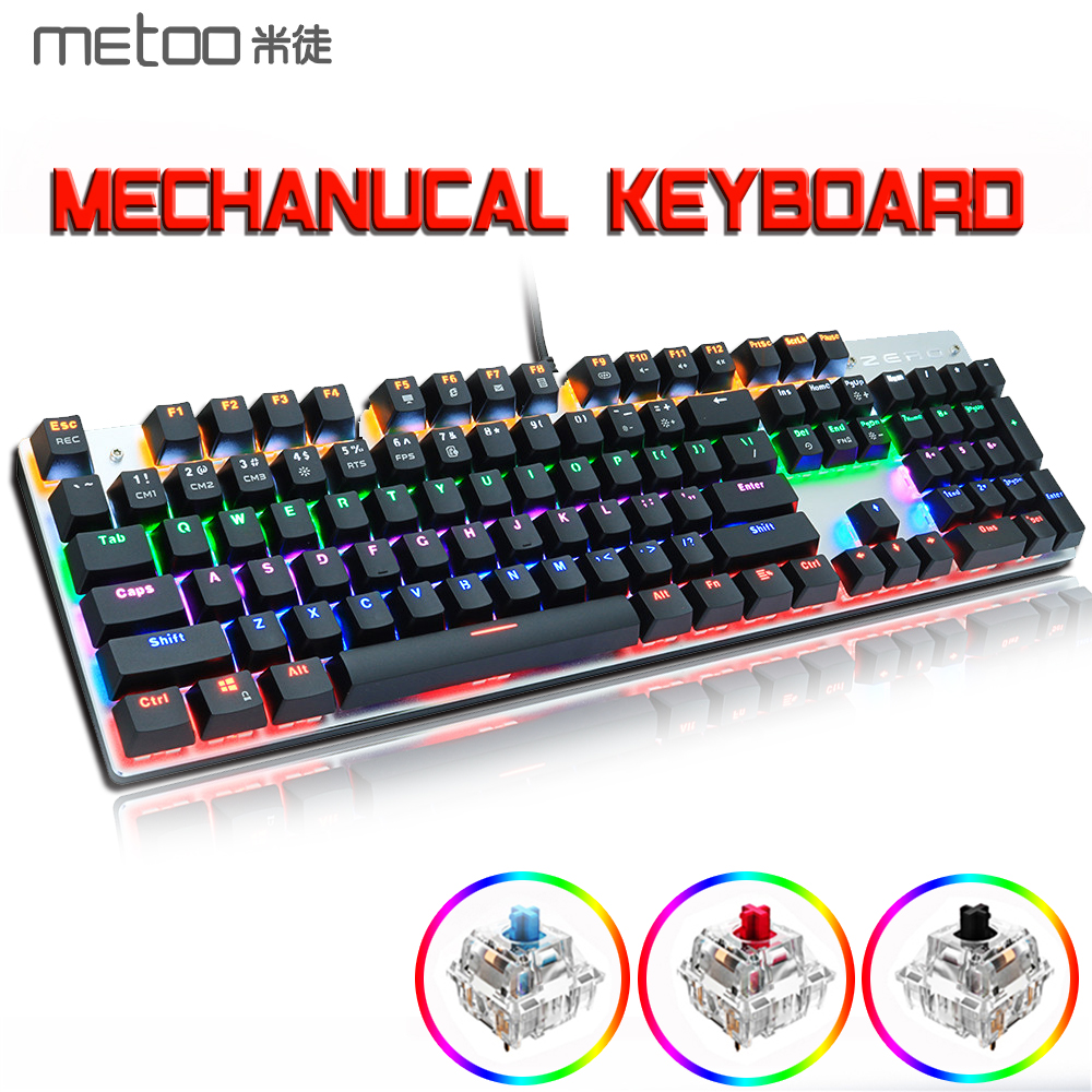 METOO X51 X52 Mechanical Gaming Keyboard LED Backlit 104/87 Keys Anti-GhostingBlack Red Blue Switches for DOTA 2 Gamer PC Laptop
