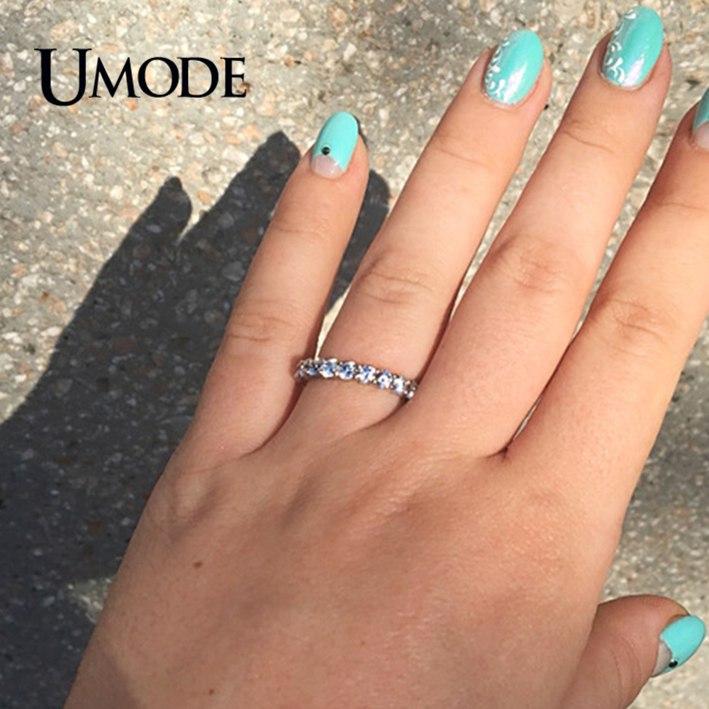 Купить с кэшбэком UMODE New White Gold Color 3mm 0.1 Carat Round CZ Crystal Wedding Eternity Rings Bands For Women Jewelry Anel Hot Gifts AUR0279
