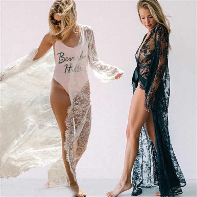 Sexy kobiet koronki Mesh Hollow sukienka wieczorowa szaty przezroczyste długa, maksi bielizna bielizna bielizna nocna babydoll bielizna nocna koszula nocna