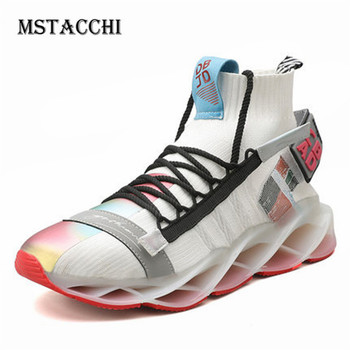 MStacchi Fashion Man Running Shoes Tide Brand Lace-Up Mixed Colors Lightweight Breathable Male Sneakers Casual Walking Men Shoes