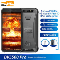 Blackview BV5500 pro IP68 Waterproof Rugged Mobile Phone 3GB 16GB 5.5 Inch Cellphone Android 9.0 Dual SIM Smartphone 4400mAh NFC