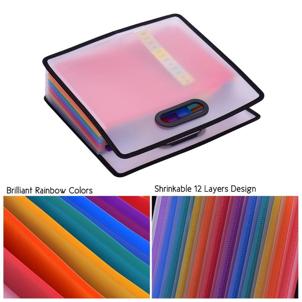 1piece Rainbow Color Portable Organ Bag Expansion Folder Office File Cabinet Receipt Bag Storage Portable A4 Filing Station J9Q0