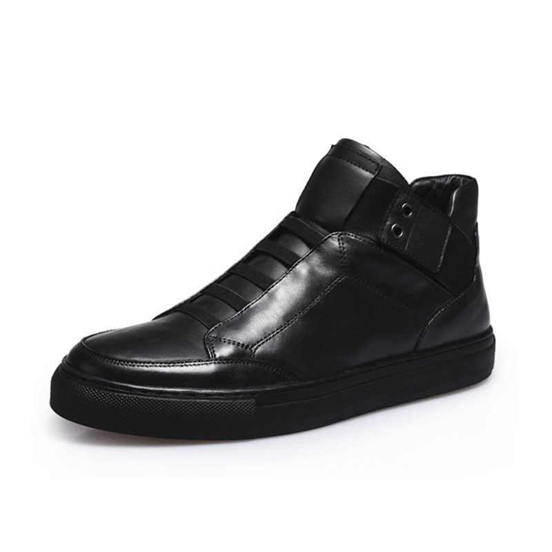 Heißer Verkauf Männer Schuhe Mode Warme Fleece Futter Winter Männer Leder Schuhe Für Mann Neue High Top Leinwand Casual Schuhe männer Slip Auf