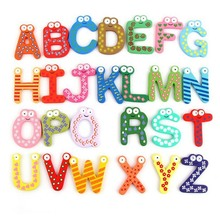 Wooden Magnetic Refrigerator Stickers 26pcs English Alphabet Early Education Kids Baby Toys