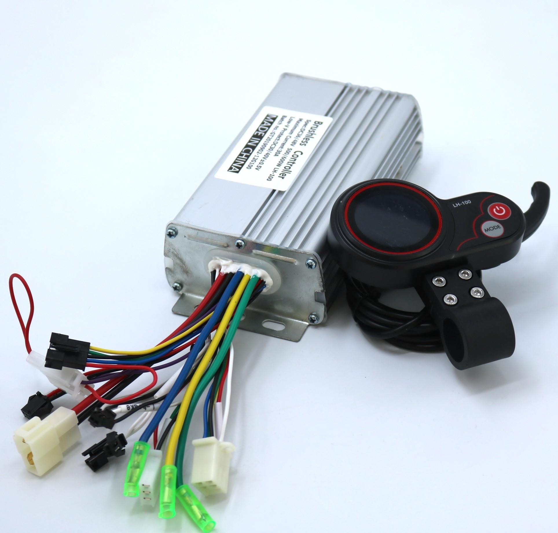GREENTIME 24V/36V/48V/60V 500/600W BLDC Motor Controller E-bike Brushless Speed Driver And LH-100 LCD Display One Set