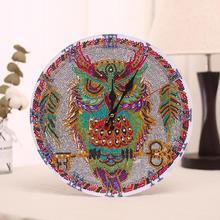 30x30cm Diamond Painting Clock Owl Horse Russian Doll DIY Partial Multi-shaped Desktop Decor Craft