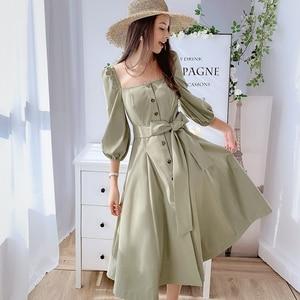 Image 5 - Dabuwawa Mulheres Do Vintage e Elegante Vestido No Início do Outono Puff Luva Praça Neck Ruffles Rosa Vestidos Casuais Vestido Longo DN1CDR053