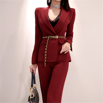 Casual Solid Women Pant Suits Notched Collar Blazer Jacket+Slim Pant Red Female Work Pant Suit Spring 2020 High Quality фото