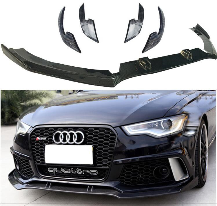 High Quality Carbon fiber Front Bumper Lip Splitters Aprons Cup Flaps Cover For AUDI A6 RS6 C7 C7.5 Sedan 2012-2018 Year image