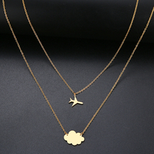 New Simple Sequins Cloud Necklace Aircraft Stars Heart Pendant Multilayer Chain Necklaces For