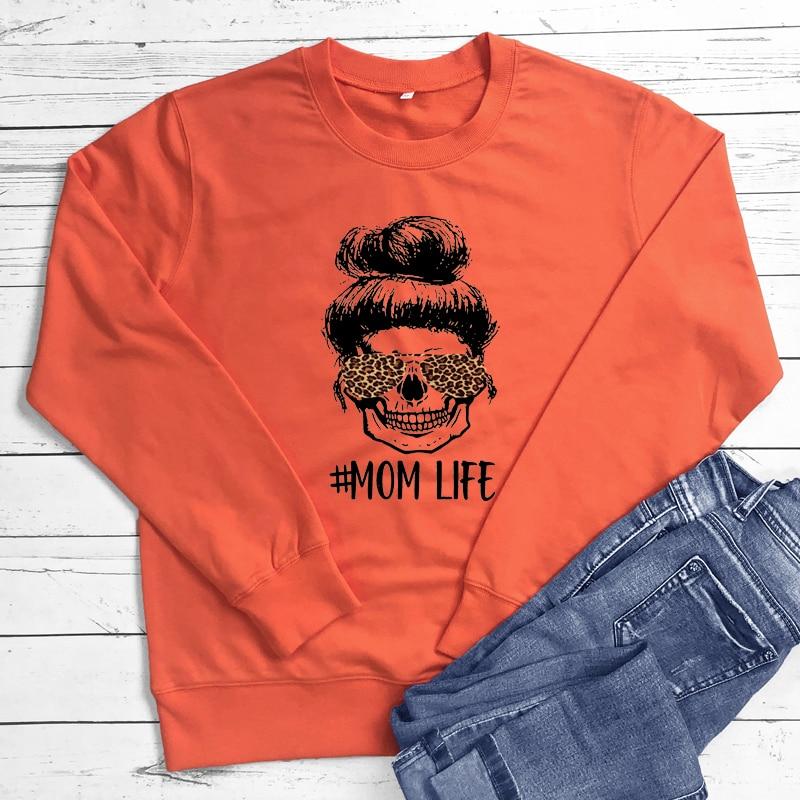 Colored Leopard Mom Life Sweatshirt Fashion Women Long Sleeve Motherhood Pullovers Funny Mother's Day Gift Sweatshirts Femme 12