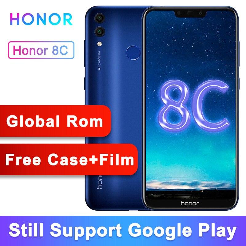 Original Honor 8C Global Rom 3 fente visage ID 6.26 pouces Snapdragon 632 Octa Core 13MP double caméra arrière 4000mAh téléphone Mobile