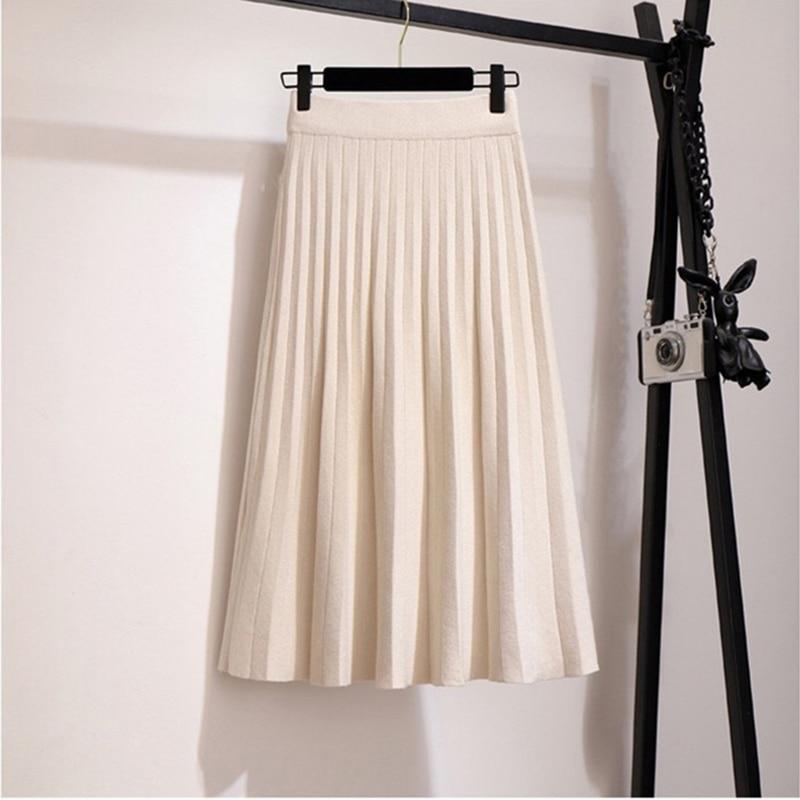 Image 3 - Surmiitro Knitted Midi Pleated Skirt Women For Autumn Winter 2019 Korean Ladies High Waist White Black Pleated Skirt Female-in Skirts from Women's Clothing