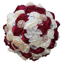WifeLai-A Burgundy Large Size Bridal Bridesmaid Wedding Diamond Bouquet Romantic Bridal Holding Fowers Bouquet buque noiva W373B