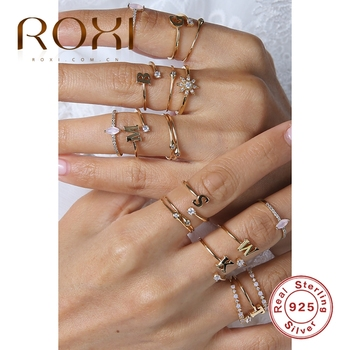 ROXI Fashion 925 Sterling Silver 26 English Alphabet Crystal Zircon Rings for Women Girls Anillos Bague Jewelry Bijoux Femme