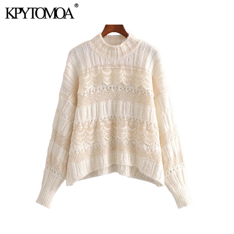Vintage Sweet Lace Patchwork Hollow Out Knitted Sweater Women 2019 Fashion Long Sleeve Irregular Female Pullovers Chic Tops