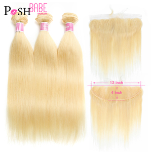 POSH BABE 613 Bundles with Frontal Closure Free Middle Part Bleached Knots Malaysian Remy Honey Blonde 3 4 Bundles Straight Hair(China)