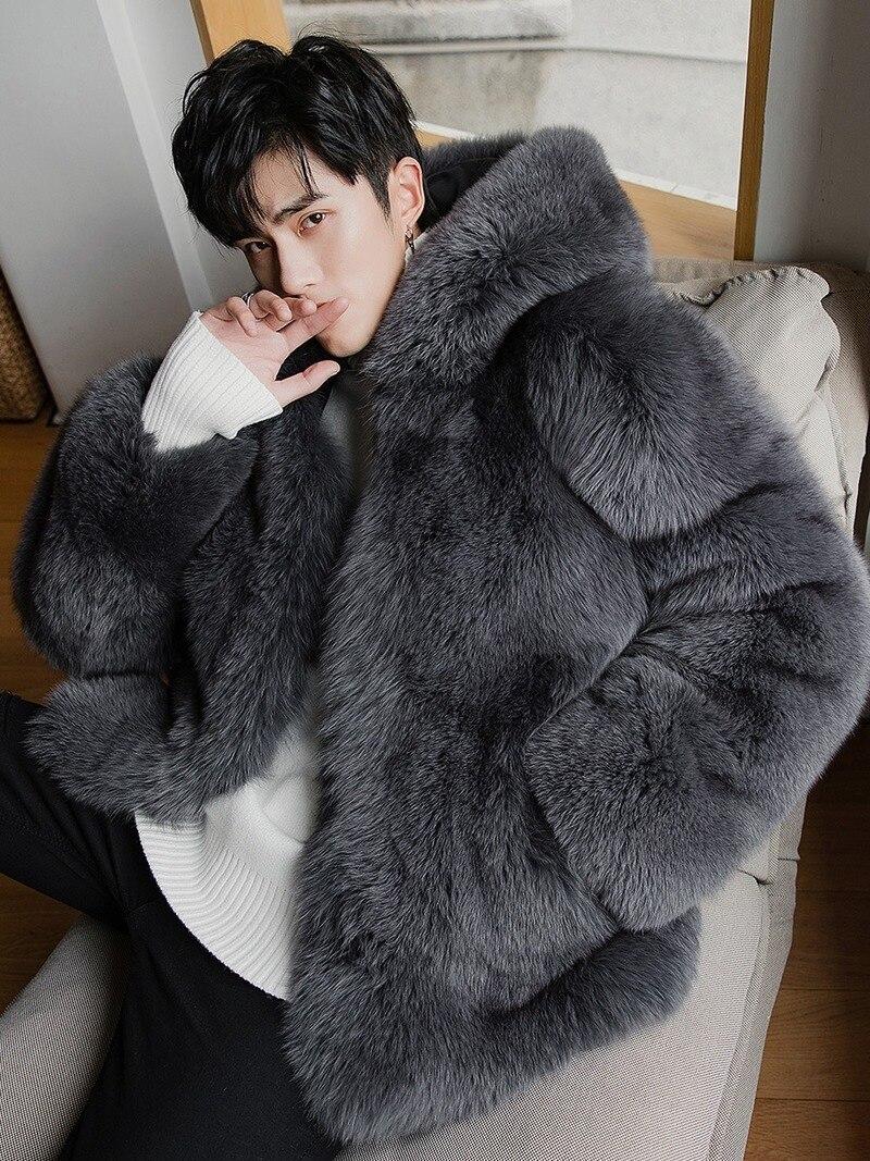 2020 New Natural Fox Winter Jacket Real Coat Men Hooded Genuine Fur Jackets And Coats Warm 2290 KJ3319