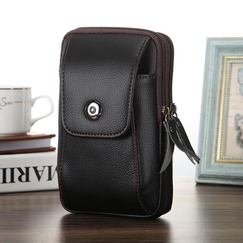 Fashon Men Fanny Pack Zipper Coin Purse Black Coffee PU Leather Male Pocket Good Quality Phone Bag Casual Waist Packs Man's Bags