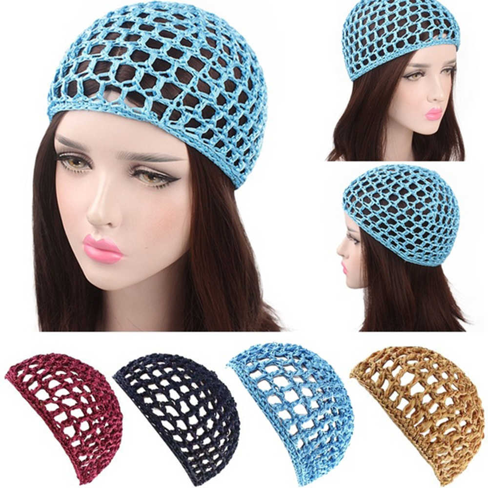 Women Soft rayon Crochet Hairnet oversize Knit Hat Cap Solid Color Snood Sleeping Night Hair Net Headbands lady Hair Accessories