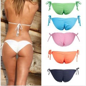 Sexy Women Thong Bikini Bottoms Solid Neon Orange Tanga Swimming -String Briefs Panty Bikini Brazilian Swimsuit Maillot De Bain