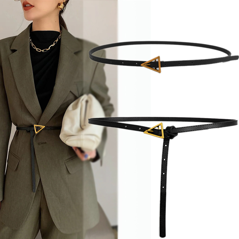 Women Belts Luxury Brand Casual PU Leather Vintage Belt Ladies Golden Triangle Buckle Women's Trousers Waistband Western Style