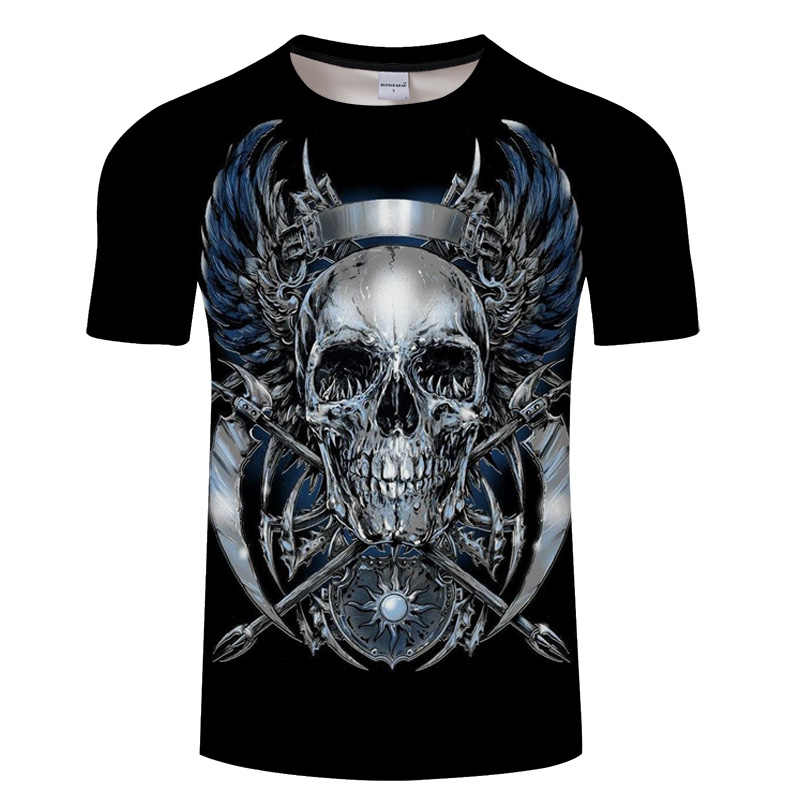 3D Skull T shirt Men Horror Shirt Male Summer Tee Funny Tops Streatwear Short Sleeve O-neck Mens Hip Hop Skull Tshirt