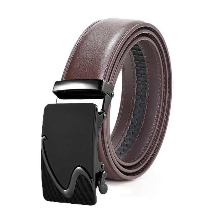 Fashion Pria Merek Asli Leather Belt Coklat Gesper Otomatis Ukuran 110-130 Cm Tali Pinggang Bisnis Pria Cintos kualitas Tinggi