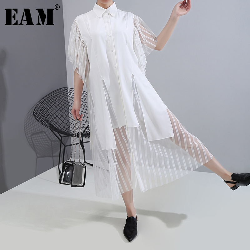 [EAM] Women White Chiffon Mesh Asymmetrical Shirt Dress New Lapel Half Sleeve Loose Fit Fashion Tide Spring Summer 2020 1T937