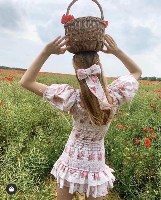 Boho loveshackfancy autumn dress beige short sleeve ruffles slim holiday ins bloggers special interest mini dress women 2