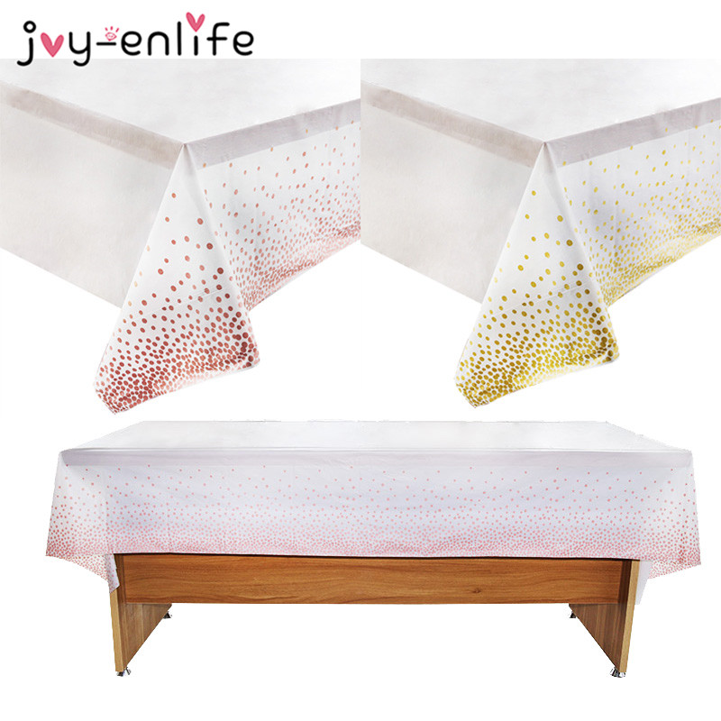 137*274cm Disposable Gold Dot Gilded Tablecloth Rose Gold Plastic Table Cloth Kids Birthday Party Decoration Wedding Baby Shower