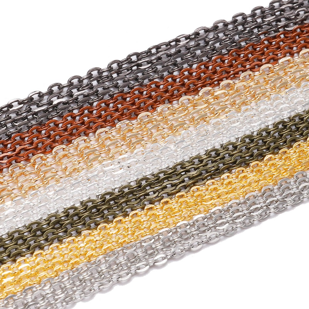 5m/lot 2*3mm Silver/Gold/Gunblack/Bronze Color Necklace Chains Brass Bulk For DIY Jewelry Findings Making Materials Accessories