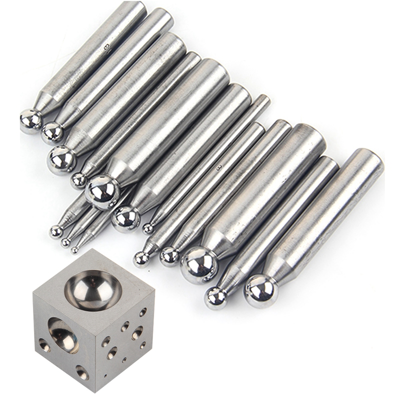 16PCS Steel Dapping Punches with Doming Block Jewellery Metalwork Jewel Suppression Tools Jewelry DIY Tools